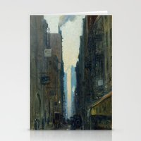 nan lawson Stationery Cards featuring New York Street Scene - Ernest Lawson by BravuraMedia