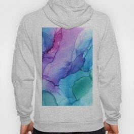 Aqua Magenta Violet Abstract Watercolor  Ink Hoody