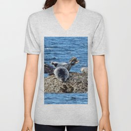 Seal Flips out on crowded rock Unisex V-Neck