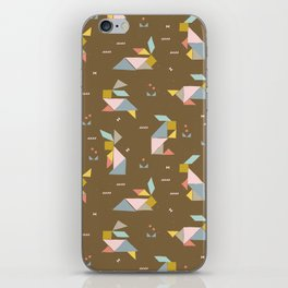 Tangram Bunnies M+M Nutmeg by Friztin iPhone Skin