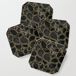 BLACK AND GOLD DROPS MARBLE Coaster