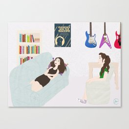 girls in the moon Canvas Print
