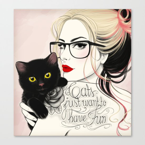 Cats just want to have fun! Canvas Print