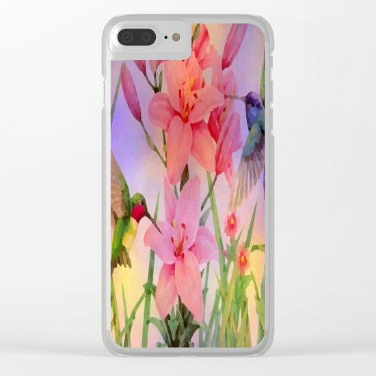 Painterly Hummingbirds And Flowers Clear iPhone Case