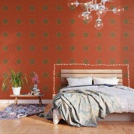 Vintage Orange Turquoise Pattern Mandala Wallpaper