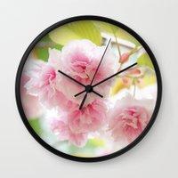sakura Wall Clocks featuring sakura by yumehana design fine art photography