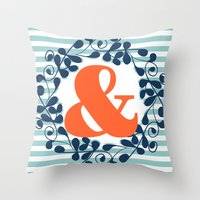 ampersand Throw Pillows featuring ampersand by ArigigiPixel