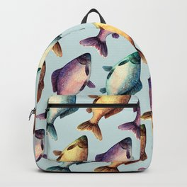 Colorful fishes pattern with bluish background Backpack