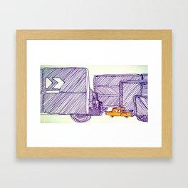 Little Orange Bus Framed Art Print
