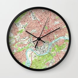 Vintage Map of Knoxville Tennessee (1966) Wall Clock