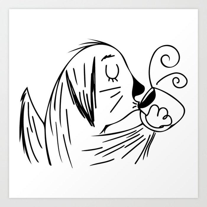 Dog Lovers // Coffee Lovers // Cartoon Golden Retriever Drinking Coffee Art Print