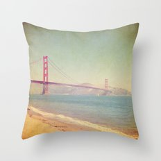 A Golden Day at the Beach Throw Pillow