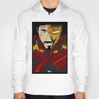 tony stark Hoodies featuring Iron Man 3 (Tony Stark) by  Steve Wade ( Swade)