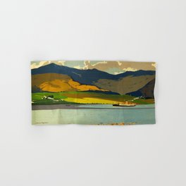 Loch Awe Vintage Mid Century Art Travel Poster British Railways Colorful Landscape Hand & Bath Towel