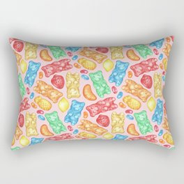 Gummies Galore - A happy array of rainbow of hand-drawn fruity flavored gummies and jelly beans Rectangular Pillow