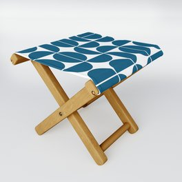 Mid Century Modern Geometric 04 Blue Folding Stool