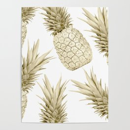 Gold Pineapple Bling Poster