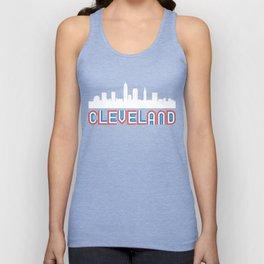 Red White Blue Cleveland Ohio Skyline Unisex Tank Top