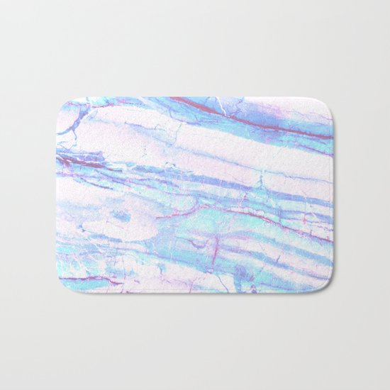 Pastel Marble with Blue Green Purple Bath Mat