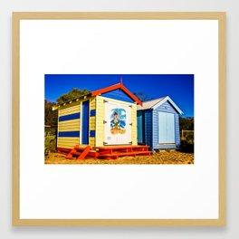 Iconic brightly coloured wooden beach huts from the early 1900s. Brighton Beach. Melbourne. Aust Framed Art Print