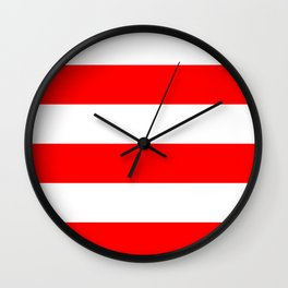 Wide stripes / red Wall Clock