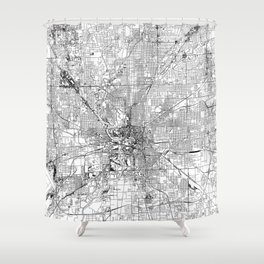 Indianapolis White Map Shower Curtain