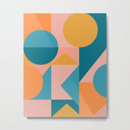 Colorful Geometric Abstraction in Blue and Orange Metal Print