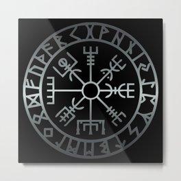 Vegvísir (Icelandic 'sign post') Symbol - REEL STEEL Metal Print