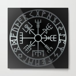 Vegvísir (Icelandic 'sign post') Symbol - REEL STEEL Metal Print