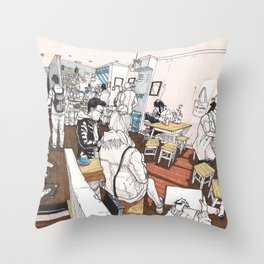 Little Rogue cafe Throw Pillow