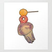 Jellyfish with stuff ontop Art Print