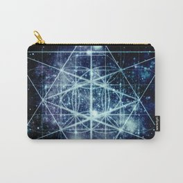 Galaxy Sacred Geometry Flower of Life Ocean Blue Carry-All Pouch