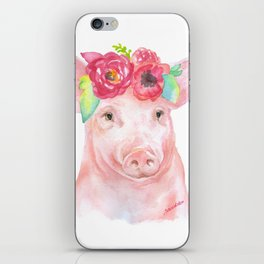Piglet with Flowers 2 Watercolor iPhone Skin