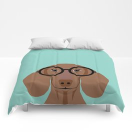 Remy - Daschund with Fashion glasses, hipster glasses, hipster dog, doxie,  Comforters
