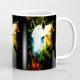 white horse face portrait watercolor splatters Coffee Mug
