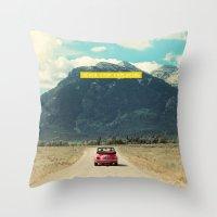 never stop exploring Throw Pillows featuring NEVER STOP EXPLORING III by Leslee Mitchell