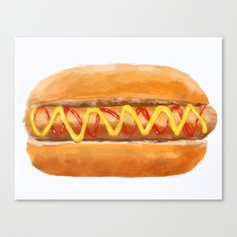 Hot Dog in a Bun Canvas Print