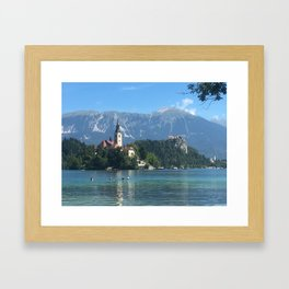 Lake Bled Swimmers Framed Art Print