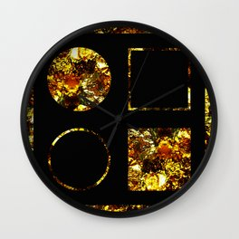 Golden Shapes - Abstract, black and gold, circles and squares, geometric, metallic art Wall Clock