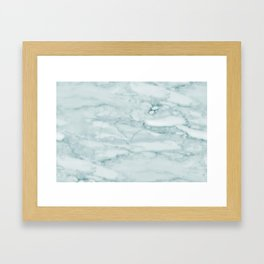 Marble Pale Teal Sea Green Marble Framed Art Print