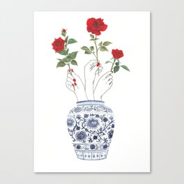 Hands, vase, roses Canvas Print