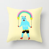 yolo Throw Pillows featuring Yolo by Saif Chowdhury