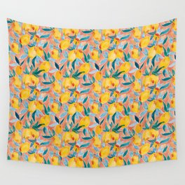 Lucky Lemons Watercolor Fruit Pattern in Peach and Yellow Wall Tapestry