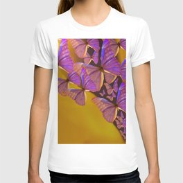 Shiny Purple Butterflies On A Ocher Color Background #decor #society6 T-shirt