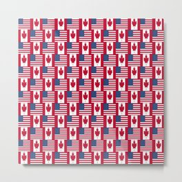 Mix of flag: Usa and Canada Metal Print