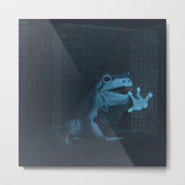Frog In The Shower Metal Print
