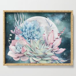 Beautiful Succulents Full Moon Teal Pink Serving Tray