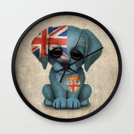 Cute Puppy Dog with flag of Fiji Wall Clock