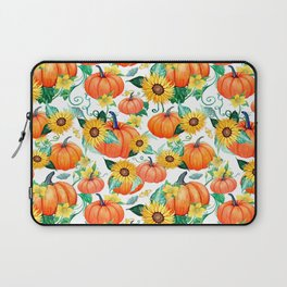 Pumpkins and Sunflowers with moths, watercolor botanical Laptop Sleeve