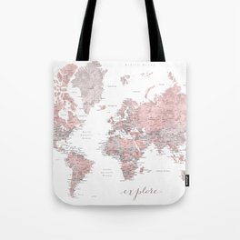 Explore - Dusty pink and grey watercolor world map, detailed Tote Bag